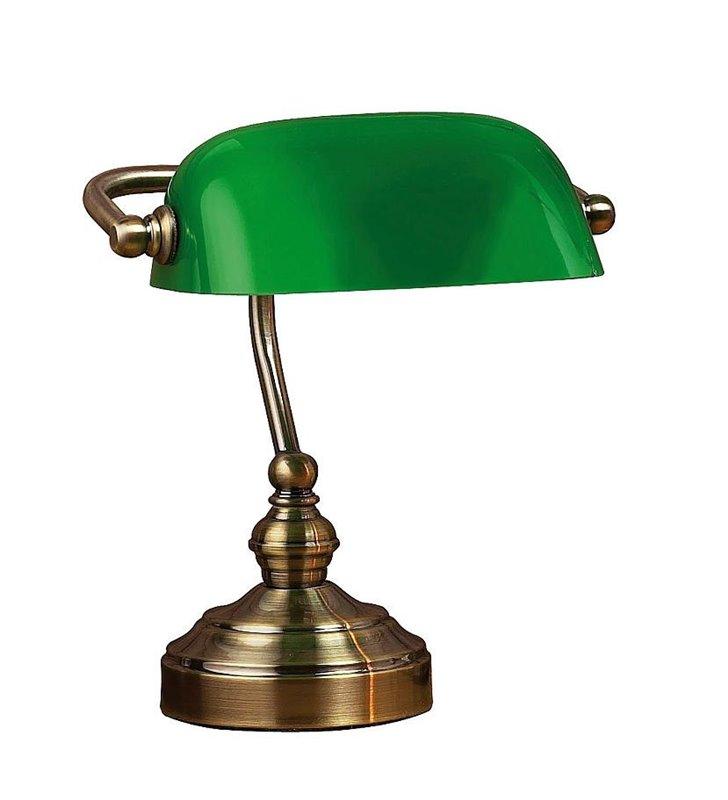 Lampa gabinetowa z zielonym kloszem Bankers mała niska bankierka
