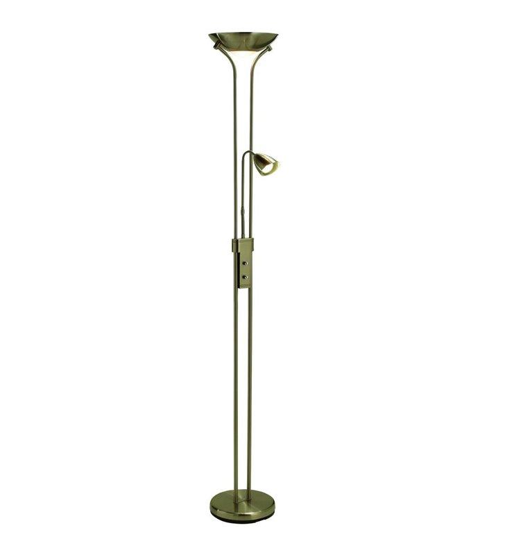 Lampa podłogowa Detroit patyna ze ściemniaczem wysokość 180cm 2 punkty świetlne np. do czytania