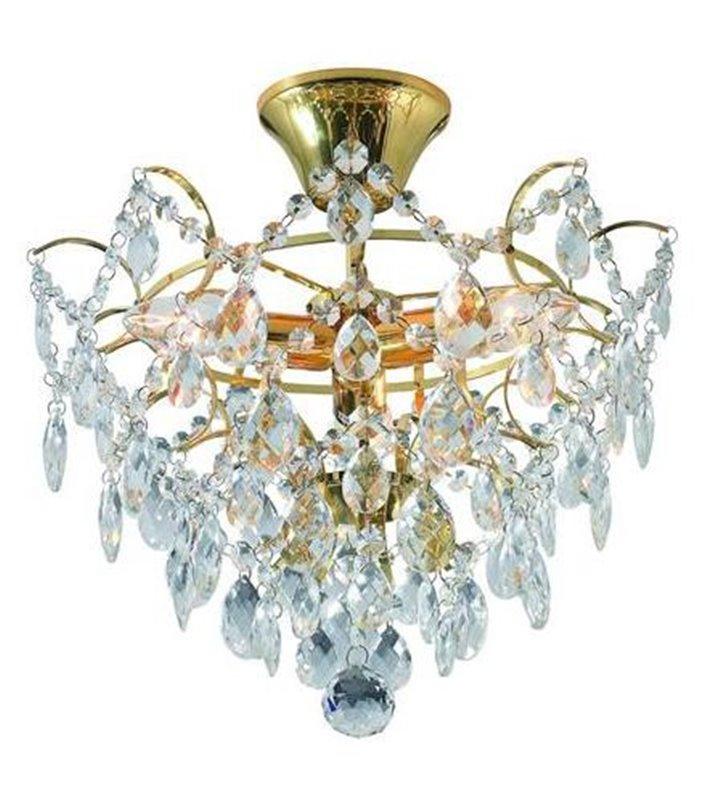 Kryształowa lampa sufitowa Rosendal - złoty