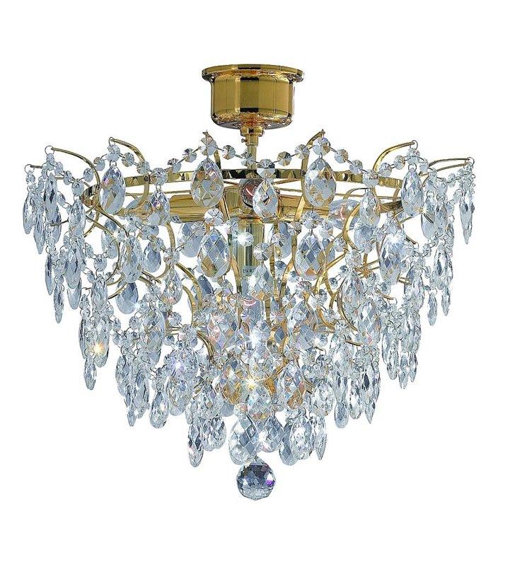 Złota lampa sufitowa kryształowa Rosendal