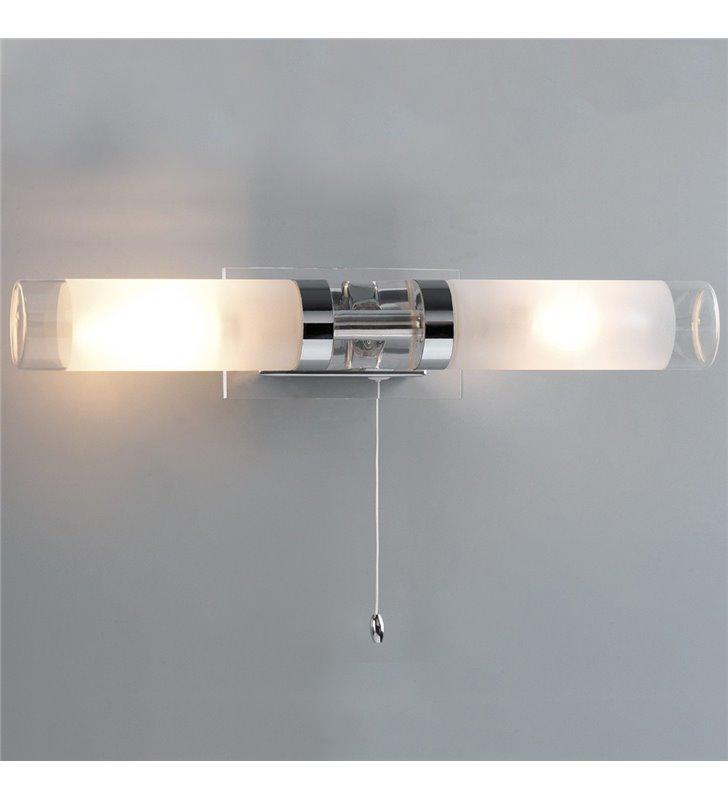 Kinkiet łazienkowy podwójny nad lustro z włącznikiem sznureczkowym Hook chrom