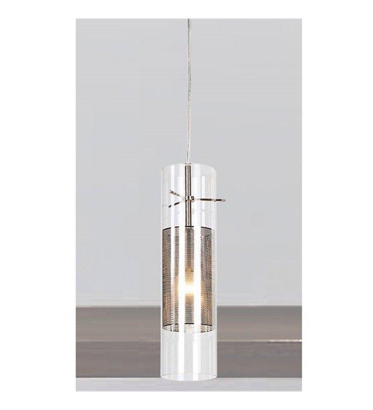 Lampa wisząca Viky klosz w kształcie walca pojedyncza wewnątrz szklanego klosza klosz z siatki
