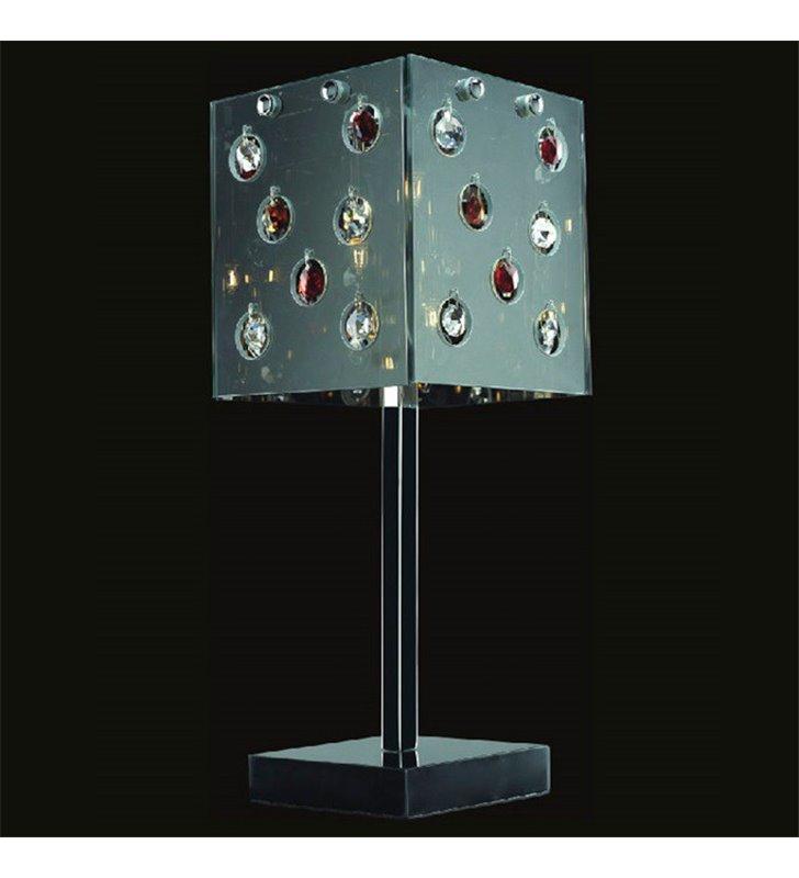 Lampa stołowa Domino klosz kwadratowy lustrzany ozdobiony kryształkami