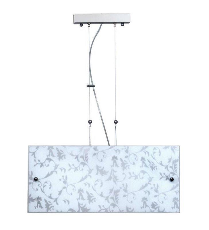 Lampa wisząca Alaska biała z ornamentem roślinnym dwie tafle szkła nad stół do salonu sypialni jadalni kuchni - DOSTĘPNA OD RĘKI