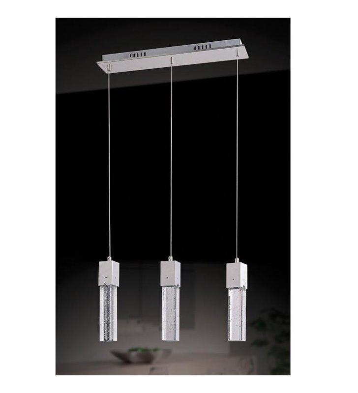 Lampa wisząca Vivid potrójna klosze podłużne wąskie prążkowane z bąbelkami powietrza