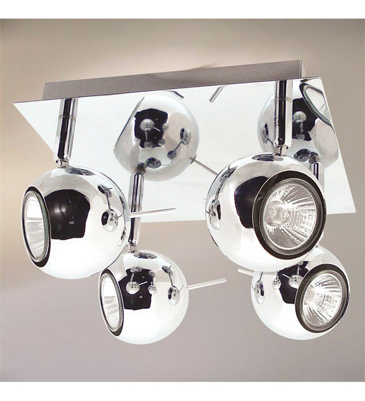Lampa sufitowa spot Hary 4 punktowa nowoczesna klosze metalowe okrągłe