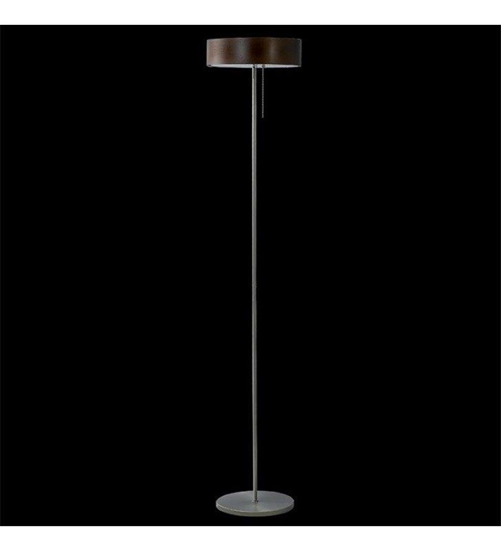 Lampa podłogowa Kapri klosz fornirowany wenge ciemne