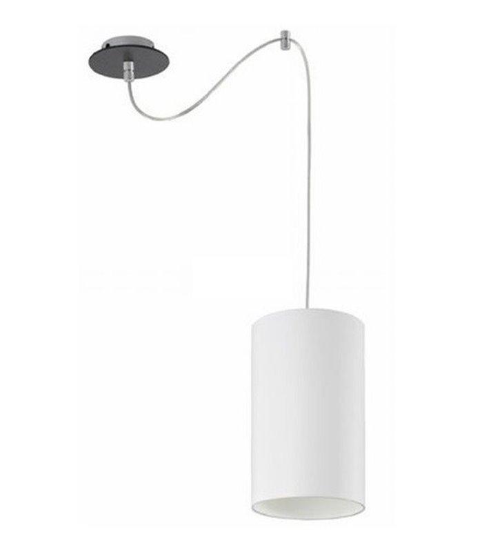 Lampa wisząca Ring biała klosz walec podsufitka wenge pojedyncza