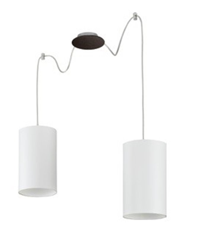 Lampa wisząca Ring podwójna na małej podsufitce w kolorze wenge klosze białe walce
