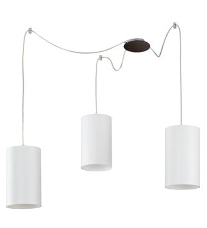 Lampa wisząca Ring 3 zwisy na jednej podsufitce klosz biały walec - OD RĘKI