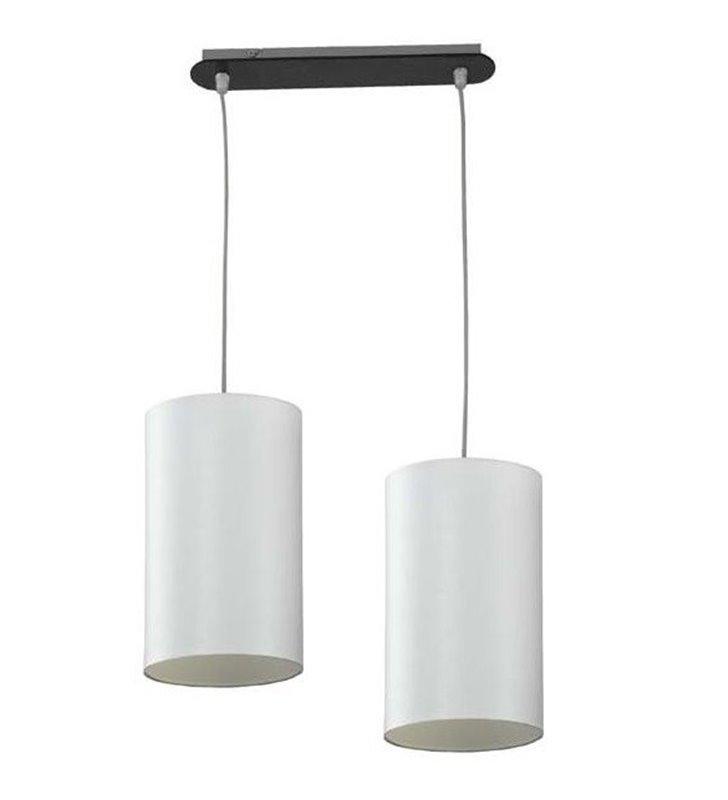 Lampa wisząca Ring podwójna na belce drewnianej wenge klosz białe okrągłe