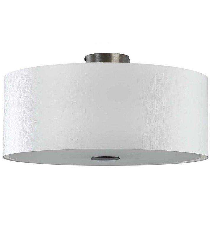 Plafon Ring 500 biały okrągły abażur z wykończeniem w kolorze wenge