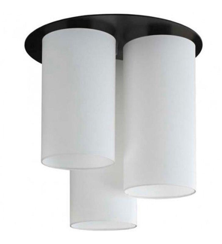 Lampa sufitowa Ring okrągła podsufitka wenge z trzema białymi abażurami