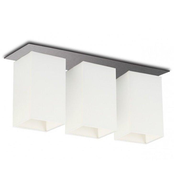 Lampa sufitowa Vega podłużna potrójna białe abażury