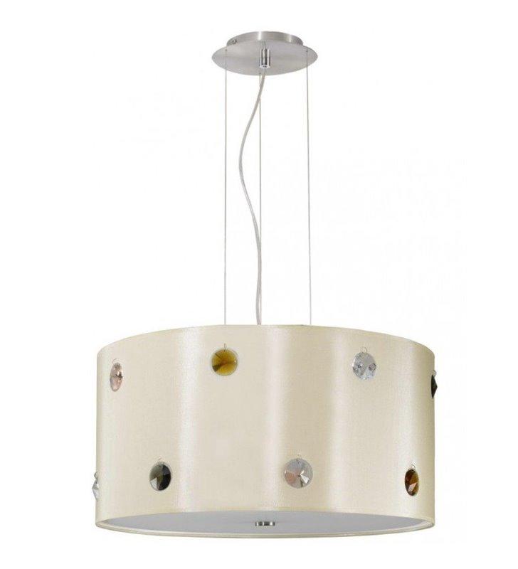 Lampa wisząca Rondo Cristal abażur ecru ozdobiony kolorowymi kryształkami do salonu sypialni jadalni kuchni nad stół