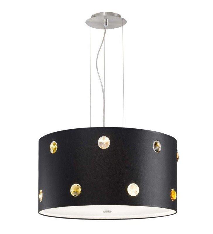 Lampa wisząca Rondo Cristal czarna z kolorowymi kryształkami do salonu sypialni jadalni kuchni nad stół