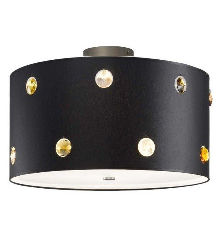 Plafon Rondo Cristal czarny abażur z kolorowymi kryształkami do salonu sypialni jadalni przedpokoju