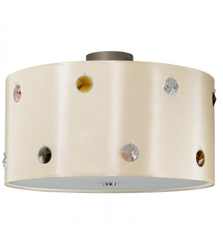 Plafon Rondo Cristal abażur materiałowy ecru z kolorowymi kryształkami do salonu sypialni jadalni przedpokoju