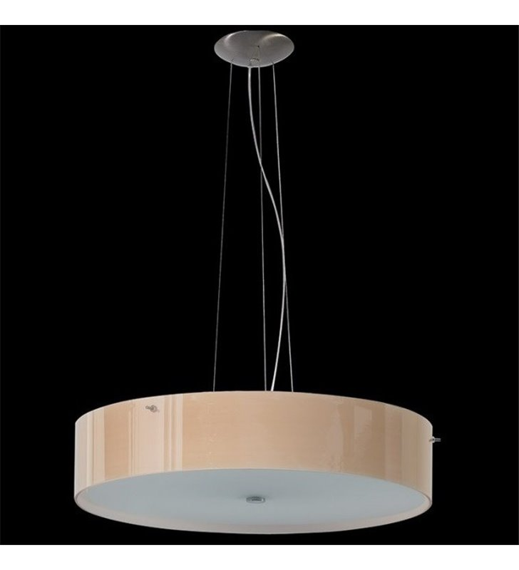 Nowoczesna szklana lampa wisząca Lima ecru błyszcząca średnica 47cm  - DOSTĘPNA OD RĘKI