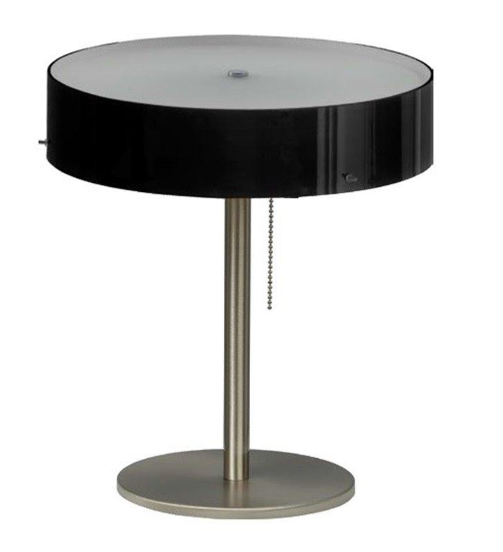 Lampa stołowa Lima szklany klosz czarny błyszczący włącznik przy kloszu