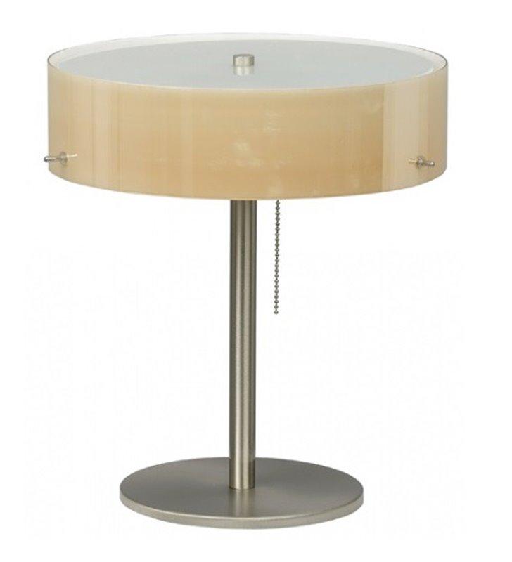 Lampa stołowa Lima klosz szklany ecru błyszczący włącznik przy kloszu