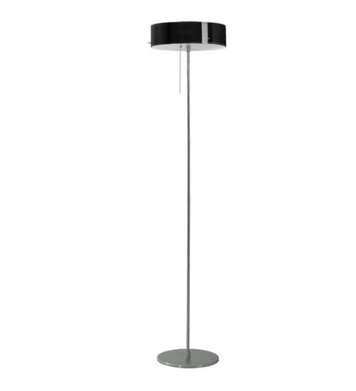 Lampa podłogowa Lima szklany klosz czarny błyszczący