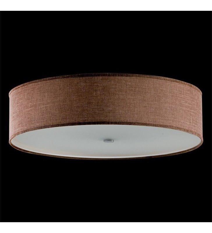 Plafon Tonga 470 okrągły brązowy abażur materiałowy