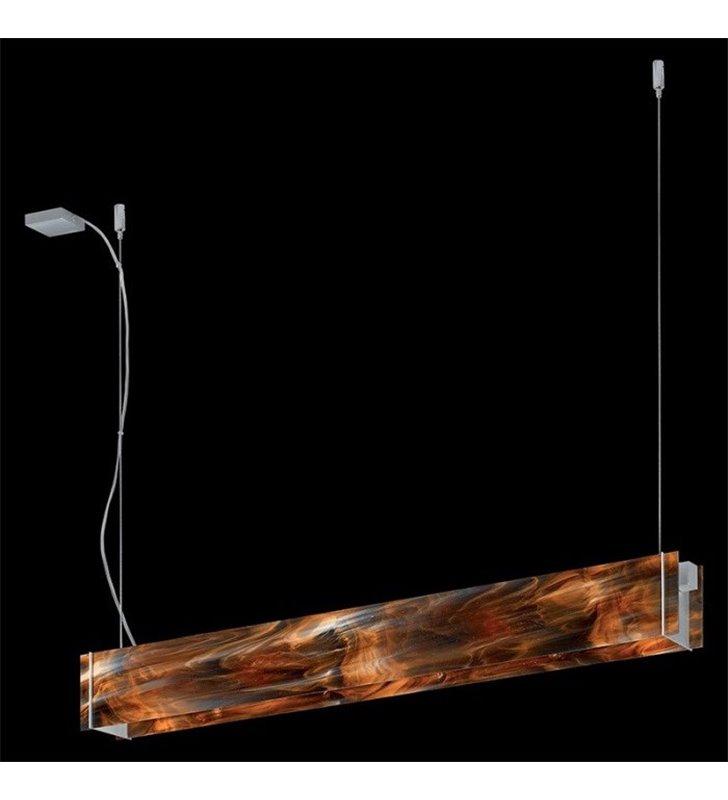Lampa wisząca Traverso-4 podłużna szklana brązowa nad stół do biura jadalni kuchni salonu