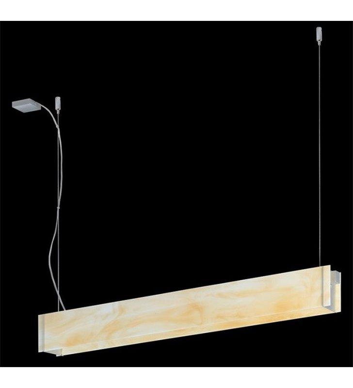Lampa wisząca Traverso-5 kremowa szklana podłużna do biura jadalni kuvhni salonu nad stół wyspę kuchenną