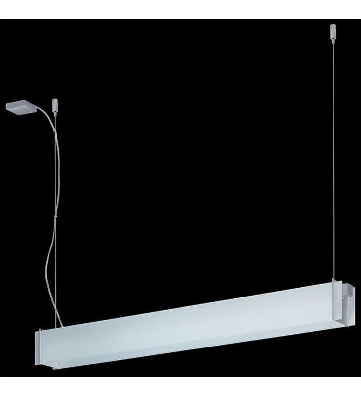 Lampa wisząca Traverso-8 biała piaskowana podłużna nad stół do biura jadalni kuchni salonu sypialni