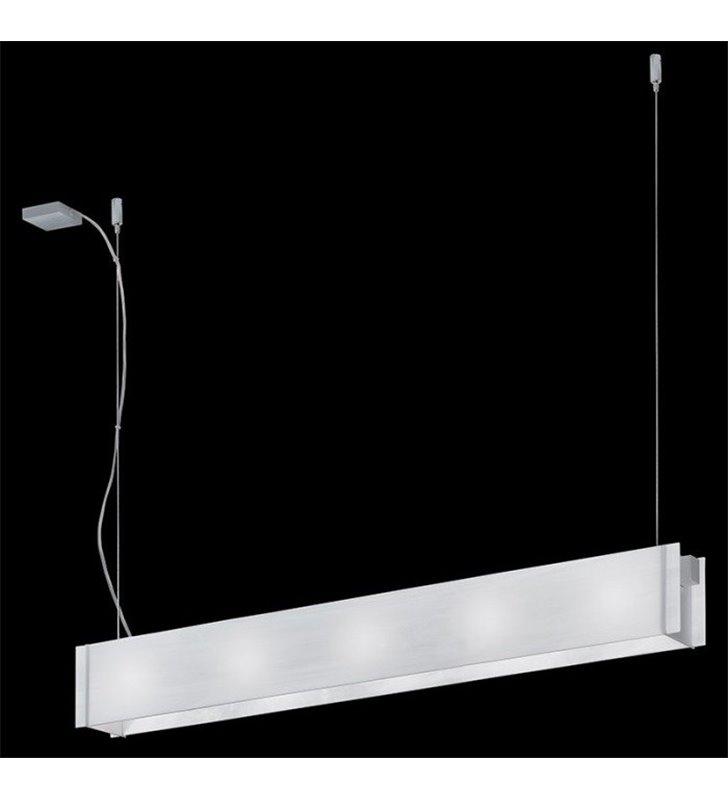 Lampa wisząca Traverso-10 podłużna prostokątna białe szkło do biura jadalni kuchni salonu