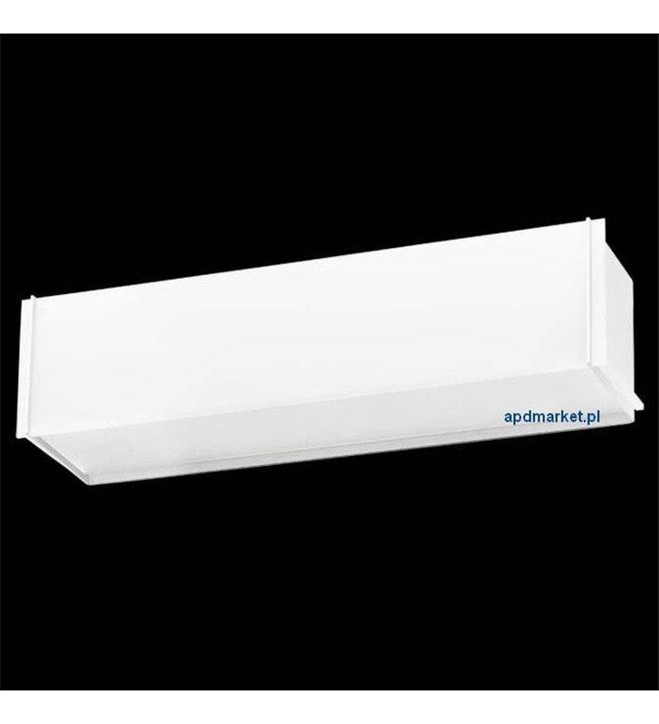 Kinkiet Traverso-10 biały podłużny prostokątny szklany klosz