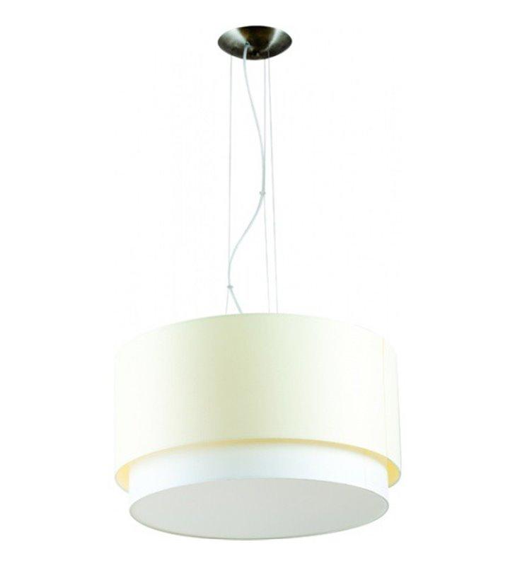 Lampa wisząca Net podwójny abażur biały z ecru do salonu sypialni jadalni kuchni