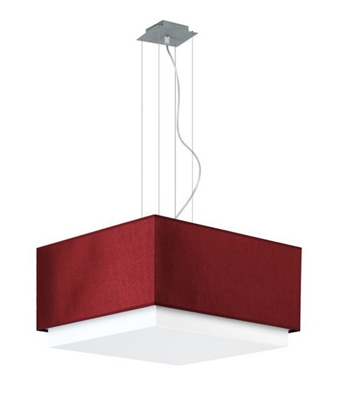 Lampa wisząca Lastra kwadratowa podwójny abażur biało bordowy do salonu sypialni jadalni kuchni