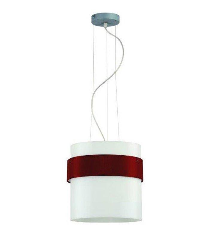 Lampa wisząca Pub Szkło z bordową opaską wokół szklanego klosza