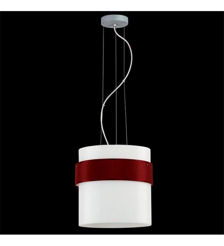 Lampa wisząca Pub Tkanina szklany klosz z bordową opaską z tkaniną