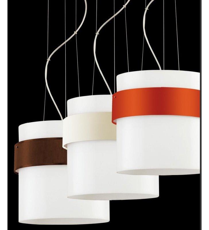 Lampa wisząca Pub Tkanina pojedyncza biała z brązową obręczą