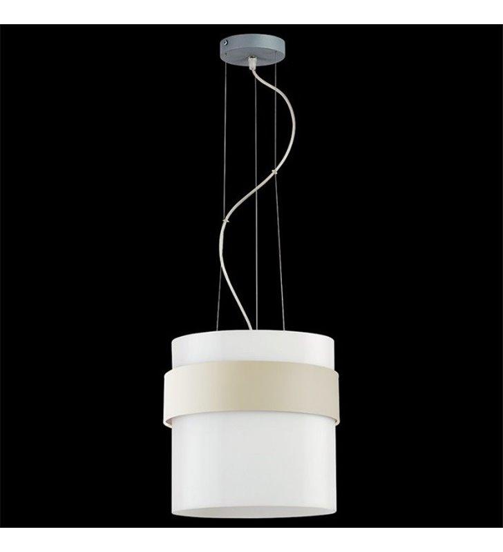 Lampa wisząca Pub Tkanina biały szklany klosz z opaską materiałową w kolorze ecru