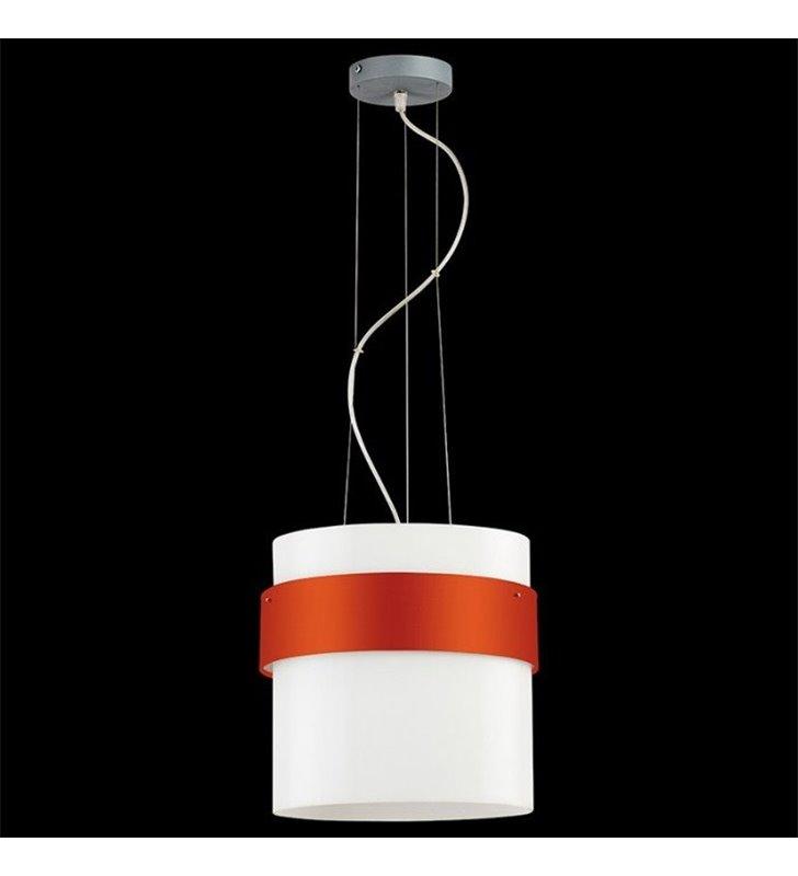 Lampa wisząca Pub Tkanina biały szklany klosz z pomarańczową obręczą