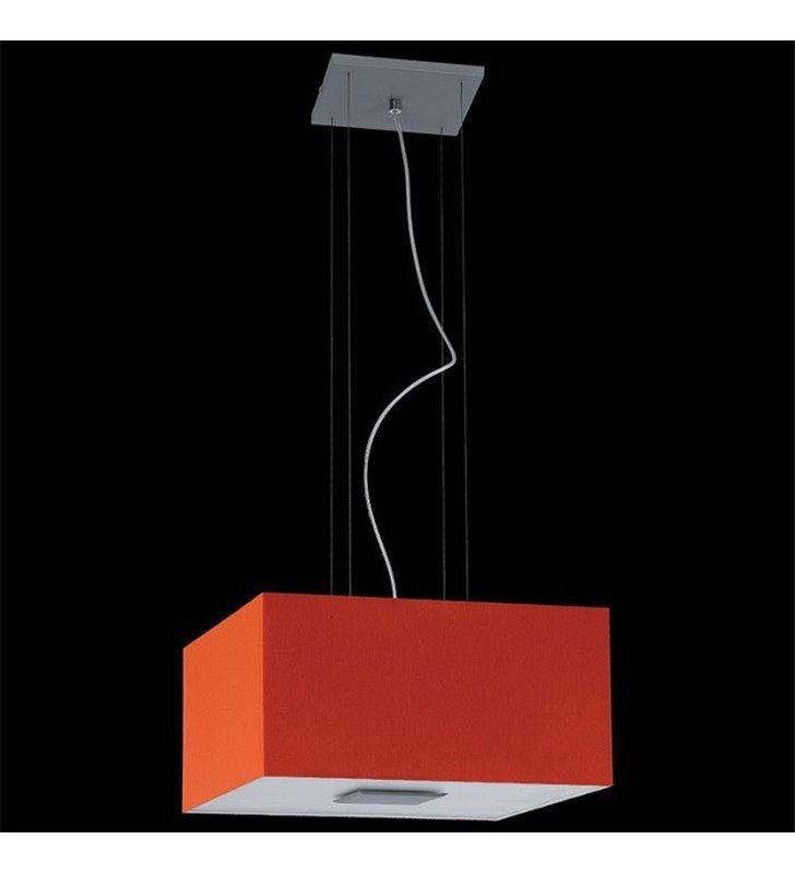 Lampa wisząca Calipso pomarańczowa abażur kwadratowy materiałowy