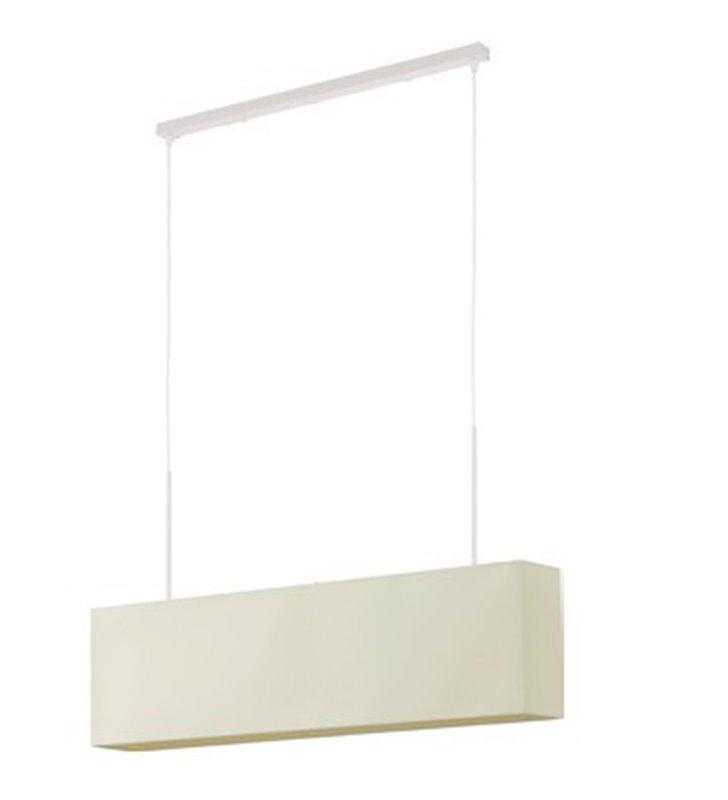 Lampa wisząca Cruz podłużna biała prostokątny abażur do salonu sypialni jadalni kuchni nad stół wyspę kuchenną