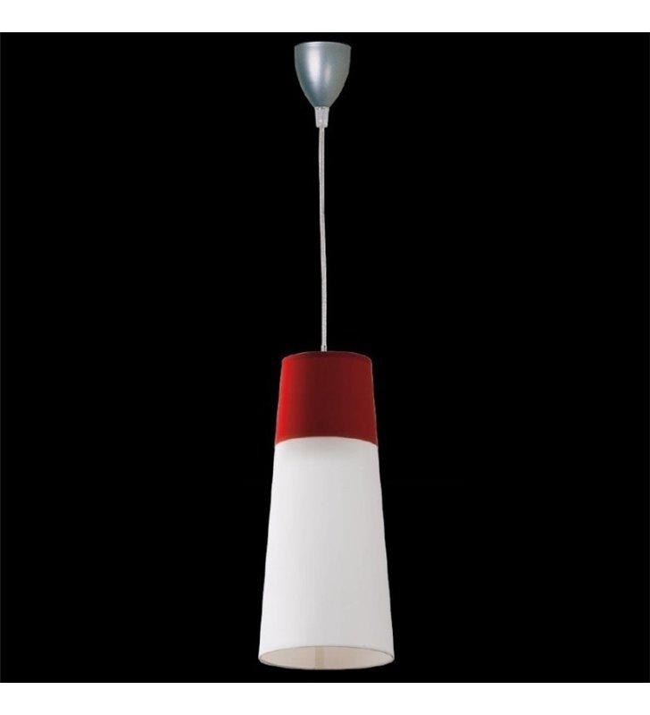 Lampa wisząca Koma biało bordowa klosz podłużny stożek