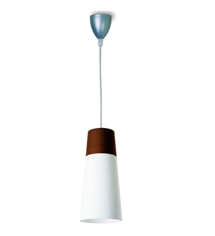Koma biało brązowa lampa wisząca klosz podłużny do salonu sypialni jadalni kuchni