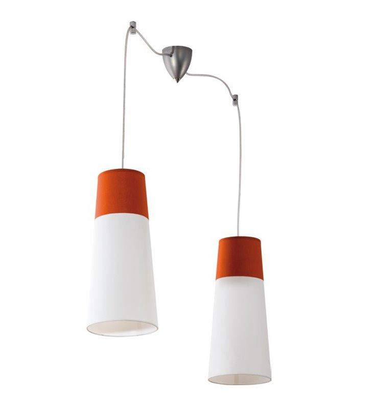 Lampa wisząca Koma podwójna biało pomarańczowe klosze do salonu jadalni sypialni kuchni