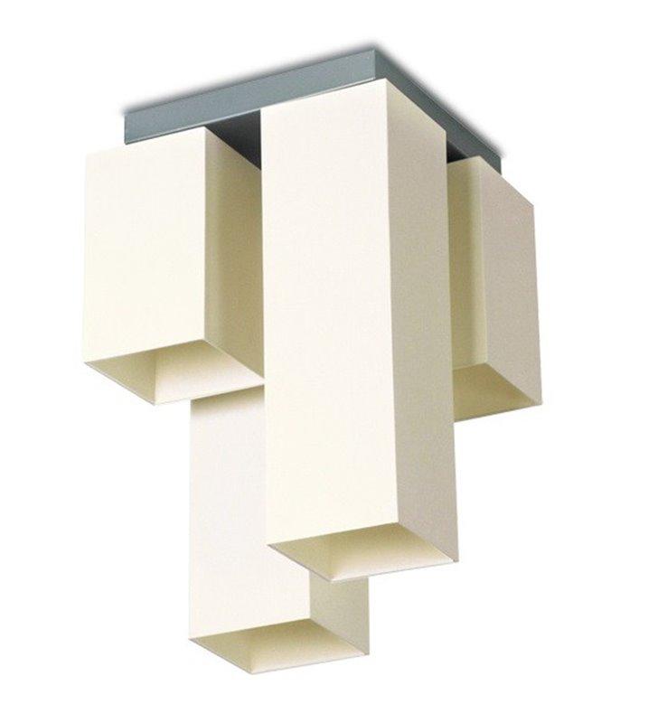 Lampa sufitowa Piko 4 punktowa kwadratowa klosze różnej wielkości kolor ecru