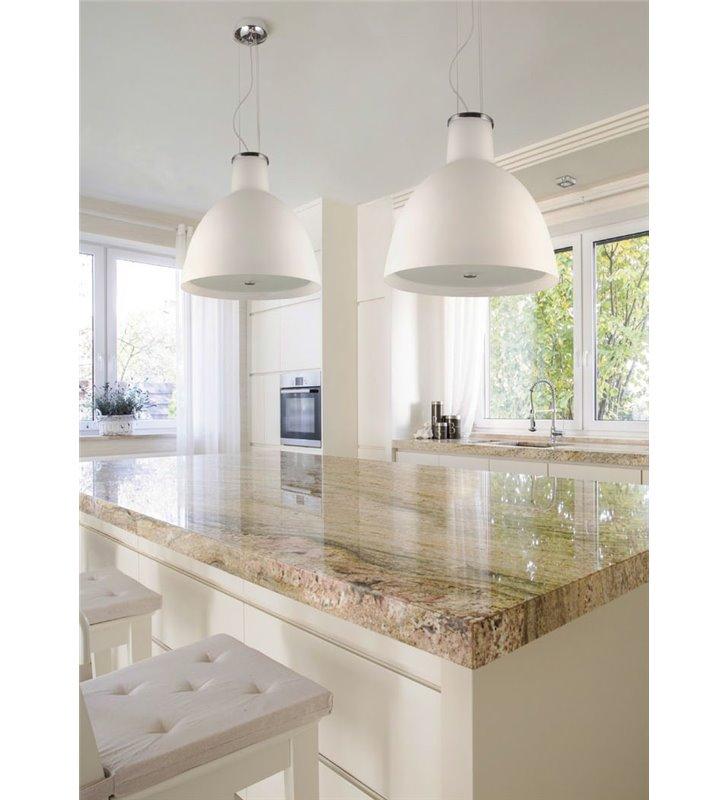 Lampa wisząca INA klosz szklany matowy opal z przesłoną do kuchni jadalni salonu sypialni nad stół wyspę kuchenną