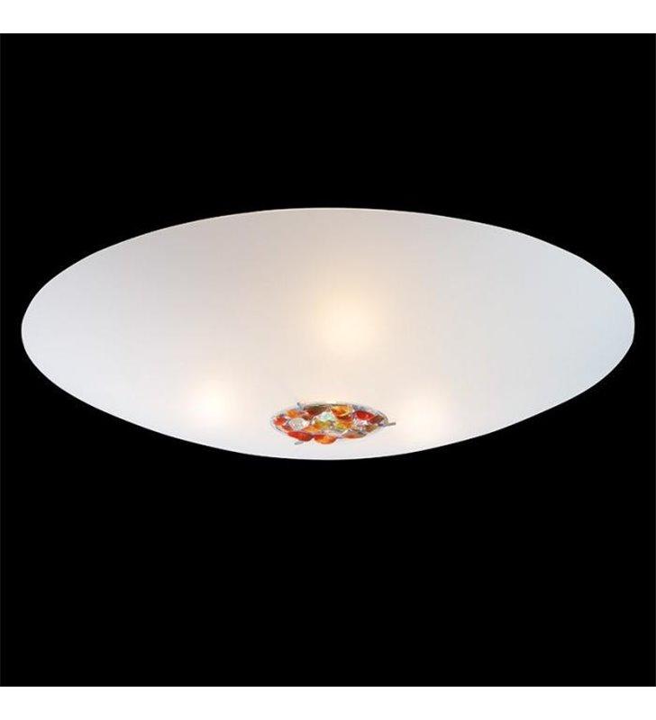 Duży okrągły biały plafon Aura 800 (K) zdobiony kamieniami półszlachetnymi