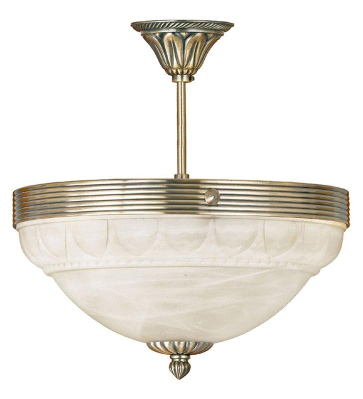 Lampa sufitowa Marbella klasyczna ze zdobieniami klosz szklany w kolorze szampana
