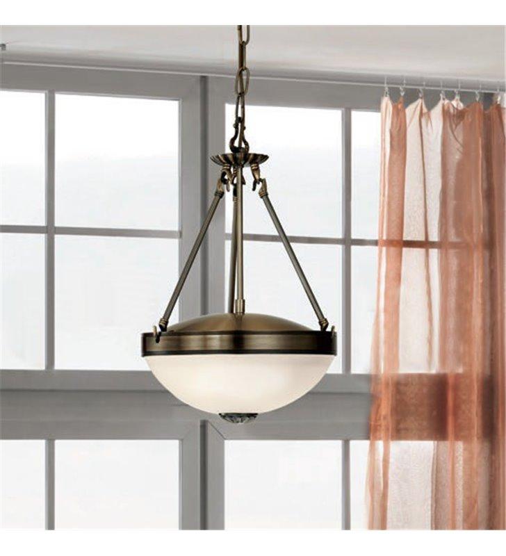 Klasyczna lampa wisząca ampla Savoy patyna białe szkło nad stół do jadalni kuchni salonu sypialni