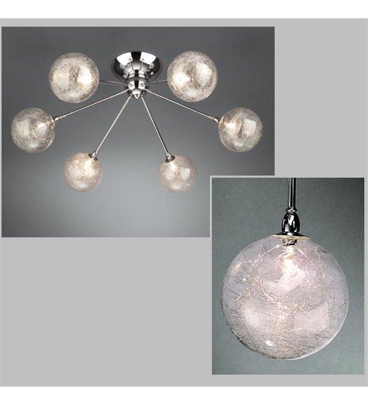 Lampa sufitowa Barbarossa klosze szklane transparentne kule - WYCOFANA